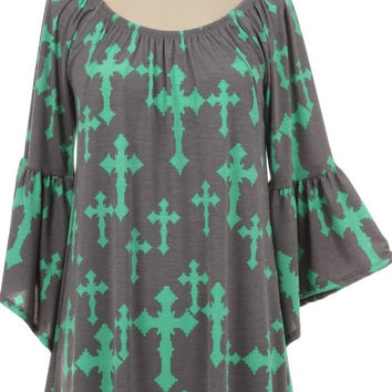 Mint and Gray Cross Tunic Top Plus Size (XL)
