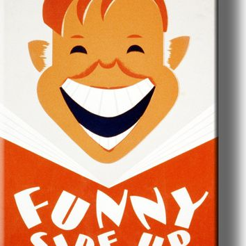 Funny Side Up, Boy Reading Book Picture on Acrylic Wall Art Décor Framed Ready to Hang!