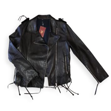 Black Leather Fringe Moto Jacket