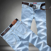 2017 men Light blue jeans male thin straight denim long trousers loose pants size 28-42