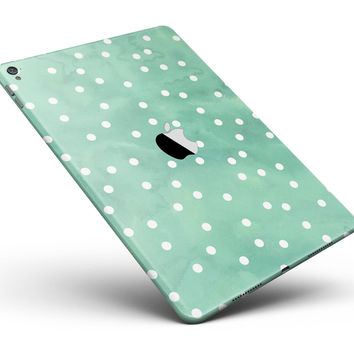 "Green Watercolor and Whtie Polka Dots Full Body Skin for the iPad Pro (12.9"" or 9.7"" available)"