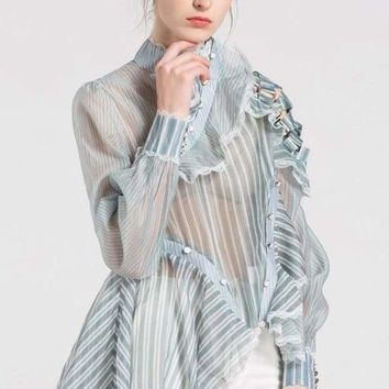 Marva Ruffle Antique Blue Blouse