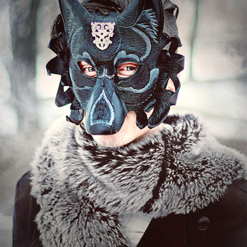 Regal Dire Wolf Mask ... handmade original leather mask masquerade mardi gras steampunk halloween burning man costume