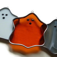 Stained Glass Ghosts - Set of 3 Orange, White, Gray Suncatcher Window Halloween Decoration