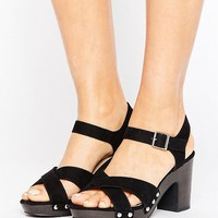 New Look Wide Fit Studded Clog Heeled Sandal at asos.com