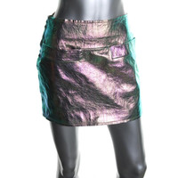 Marc by Marc Jacobs Womens Leather Metallic Mini Skirt