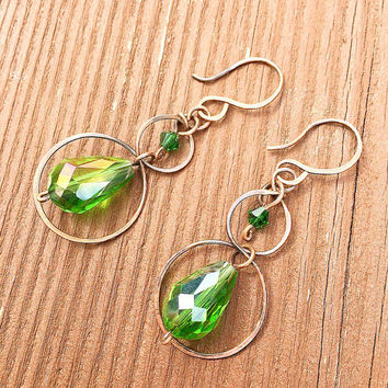 Glass bead Earrings, copper, Green crystal, wire wrapped, dangle and drop, gifts for her, summer, hoop earrings, boho style