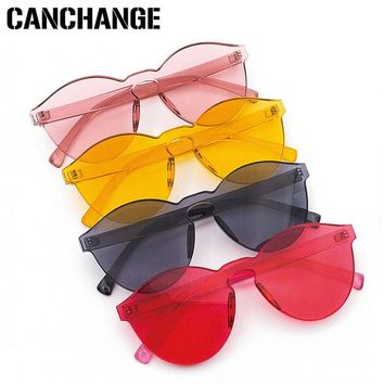 sunglasses 2018 Design Retro Cat Women Candy Color Men Transparent Frameless