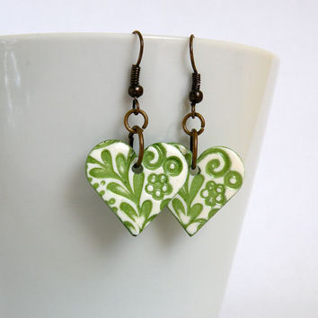 Green Heart-Shaped Flower Earrings made from Polymer Clay with Faux Ceramics Technique / Optional clip-on