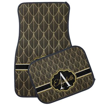 Glam Black and Faux Gold Art Nouveau Monogram Car Floor Mat