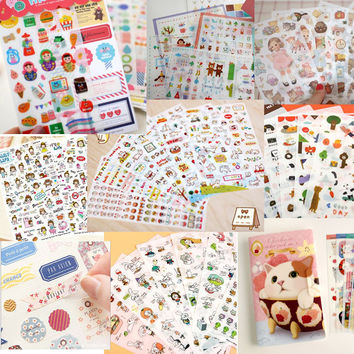 Cute stationery 6sheets 1set kawaii Deco Cat Girl scrapbooking planner stickers sticky notes filofax papeleria office supplies