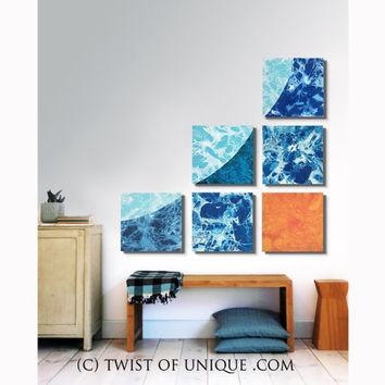 ORIGINAL Swoop Wall art / 6 panel (15 X 15 Inch) / Colorful Watercolor art /  Ocean blue, bright blue, water blue, white, Orange