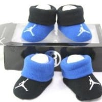 Nike Air Jordan Newborn Infant Baby Booties Socks Black and Blue w/Classic Jordan Air Logo Size 0-6 Months