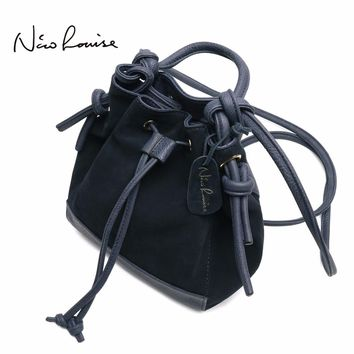 2018 Fashion Women Split Leather Shoulder Bag Female Suede Casual Crossbody Bucket Handbag Casual Lady Messenger Hobo Bags