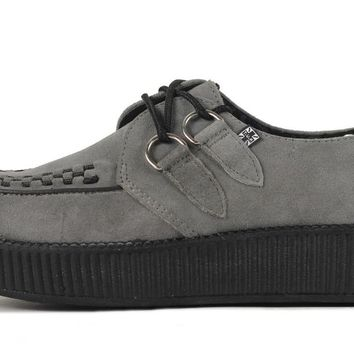 T.U.K. for Women: Grey Suede Viva Creepers