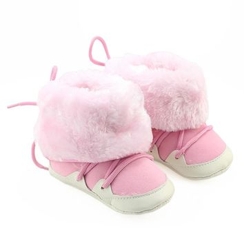 Baby Girls boots winter Toddler Newborn Baby Girl Boys Crib Brushed Boots Soft Sole Prewalker Warm Shoes drop ship