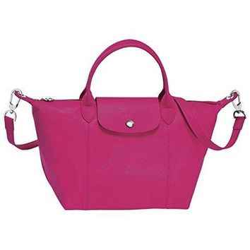 "HANDBAG le pliage leather , cuir ( cyclamen ) by longchamp paris "" LE PLIAGE "" 100% authentic original from PARIS FRANCE"