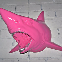 Pink Faux Resin Shark Head / Faux Taxidermied / Faux Animal Head / Shark Decor