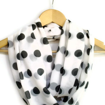 ON SALE, Green Polka Dots Infinity Scarf, Chiffon White, Loop Scarf, Women Accessories, Gift