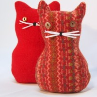 Recycled Wool Sweaters Felted Kitty Meows Plushies Valentines
