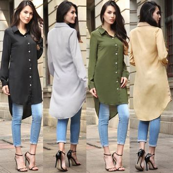 Long Sleeve Shirt Summer Women's Fashion Chiffon Jacket [11545517007]