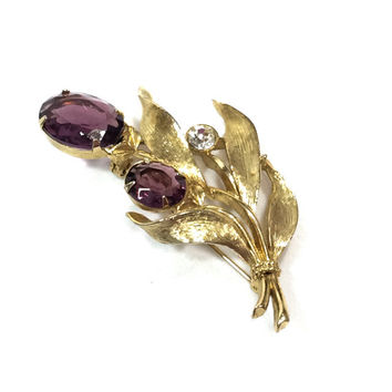 Bouquet Brooch, Amethyst Gold Flower Brooch, Crystal & Goldtone, Emmons Jewelry, 1950s, Vintage Jewelry