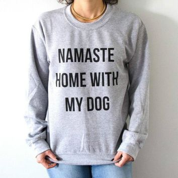 Namaste Home with My Dog Sweatshirt Pullover Women Hoodies Crewneck Long Sleeved Graphic Tee Tops Harajuku Streetwear Shirt