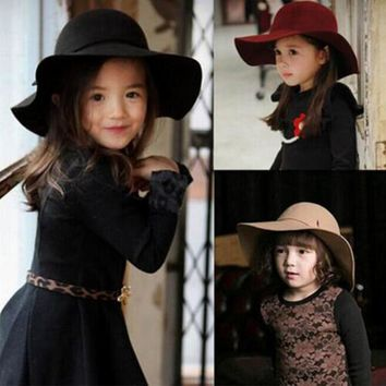 7ed4b1111f4 2016 HOT summer Kids Floppy Hat chapeu feminino Soft Vintage Wid