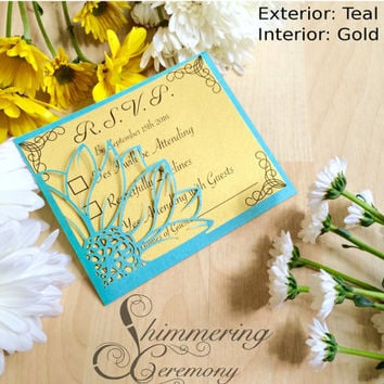 Sunflower RSVP pocket card rustic flower in the wind modern chic