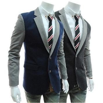 Fitting Warm Men Jacket Long Sleeve Lapel Color Blocked Jacket Blazer Suit [8323043329]