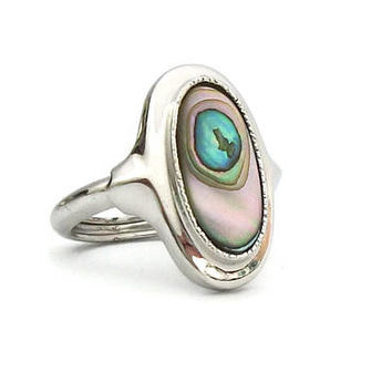 Vintage Avon Mother of Pearl Silver Tone Ring Size 4 3/4 - Peacock Colors - Signed Jewelry - Small Womens Ring - Shell Inlay