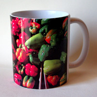 Peppers ceramic mug, farmer's market, harvest, green, yellow, red garden produce, coffee mug, cup, all occasion gift for anyone M655