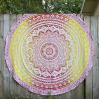 Gradient Sunset Round Mandala Tapestry