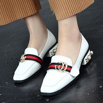 GUCCI Women Fashion Leather Pearl Low Heel Shoes