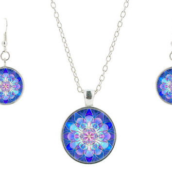 Blue Mandala Necklace,earring,Art Glass Pendant,Meditation Jewelry sets,Glass Dome Necklace Vintage