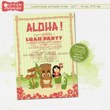 Hawaiian tiki invitation, Printable luau party invite, Luau birthday invitation / Digital customized invite card with cute hula dancer