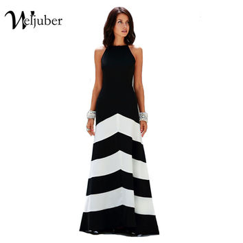 Women Striped Maxi Dress 2016 Summer Style Sleeveless Womens Clothing Office Sexy Casual Long Dress Vestidos Plus Size Ukraine