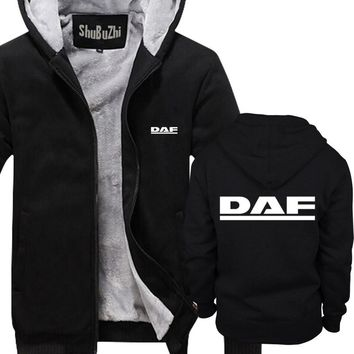 mens winter warm hoodies thick fleece coat DAF Trucks man Casual Brand Tracksuit Sweatshirts euro size