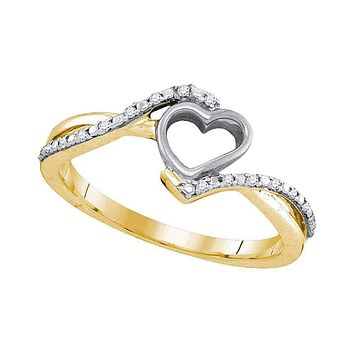 10kt Yellow Gold Women's Round Diamond Simple Heart Ring 1/12 Cttw - FREE Shipping (US/CAN)