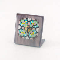 Unique Desk Clock, Office Accessories for Women, Cubicle Decor, Table Clock, Battery Operated, Pink and Purple, Fused Glass, Boss Gifts