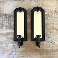 Candle Sconces Pair of Mirrored Candle Sconces Black Candle Holder Vintage Black  Wall Mount Sconces Hollywood Regency Decor Gothic Candles