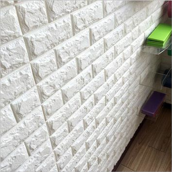 New PE Foam 3D DIY Stone Brick Self-Adhesive Wall Stickers Home Decor 39*70cm Poster Wallpaper For Living Room Kitchen Art Mural