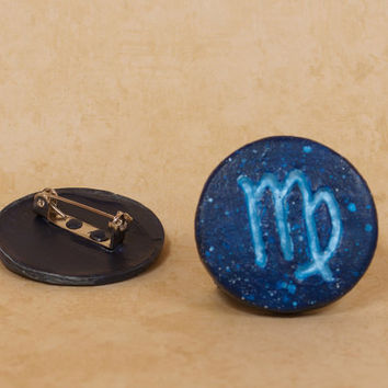 Virgo Pinback Button, Zodiac Pin, Zodiac Button, Virgo Button, Virgo Pin, Zodiac Symbols, Constellation Pin, Astrology Pin, Astronomy Pin