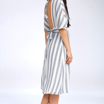 Pier of Influence Blue and White Striped Midi Dress