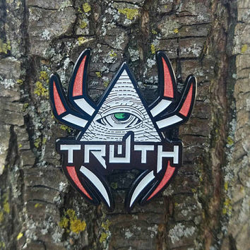 Illuminati Hat Pins -The Truth be told 1.7in- all LE 35 White and Red Truth hat Pins - Glow in the Dark