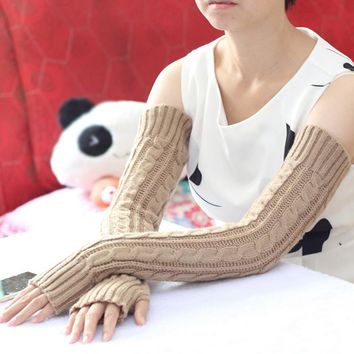 2017 Fashion 6 Colors Hemp Flowers Fingerless Gloves Knitted Long Gloves