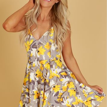 Crossed Back Floral Fit and Flare Dress Yellow