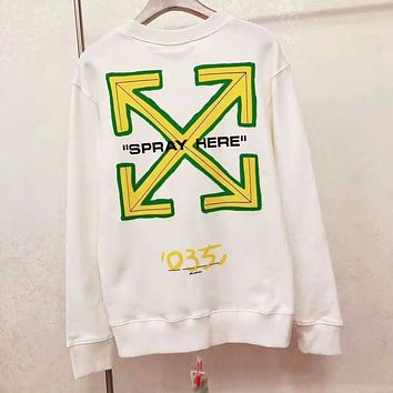 OFF WHITE Trending Women Men Casual Print Round Collar Sweater Sweatshirt