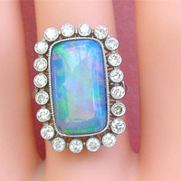 Estate Edwardian style 8ct rectangle Opal 1.20ct diamond platinum cocktail ring