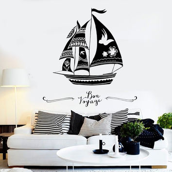 Vinyl Wall Decal Sail Ship Boat Sailor Marine Style Sea Stickers Unique Gift (940ig)
